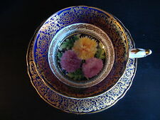 PARAGON FINE BONE CHINA TEA CUP AND SAUCER GOLD AND PINK FLORAL FLOWERS ENGLAND