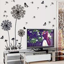 Dandelion Butterflies Flowers Wall Stickers Mural Decals Art Decor Paper