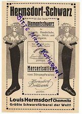CHEMNITZ, Werbung 1913, Louis Hermsdorf Schwarz-Färberei Diamantschwarz Strümpfe