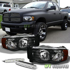 For 02-05 Dodge Ram 1500 2500 3500 Pickup Black Headlights+Smd Bumper Fog Lights
