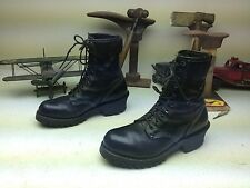 VINTAGE BLACK LEATHER STEEL TOE LEHIGH MADE IN USA LACE UP MOTORCYCLE BOOTS 7 EE