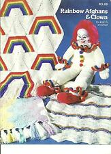 *Rainbow Afghans & Clown to knit & crochet PATTERN INSTRUCTION booklet