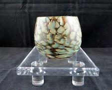 "BOHEMIAN CZECH ART GLASS BLUE BROWN & WHITE MOTTLED 3 5/8"" ROUND BALL VASE"
