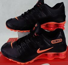 New Womens 10 NIKE Shox NZ Black Bright Mango Leather Shoes $125 636088-066