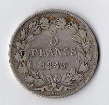 MONNAIE / ECU DE 5 FRANCS LOUIS PHILIPPE 1845 W @ LILLE SILVER COINS @ PROMO N2