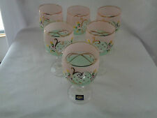 Bohemian Crystal Enamel Painted  Set Of Six Green And Pink Wine Glasses