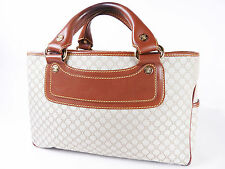 Authentic CELINE Boogie Bag Hand Bag Leather Canvas Beige Brown YS 10/05 A-4073