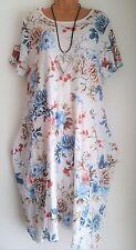 New Lagenlook Pretty White Floral cotton Sun Summer Dress uk 14 16 18 20