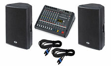 Dynacord PM600-3 powered mixer + D15-3 3-way speakers + cables MADE IN GERMANY