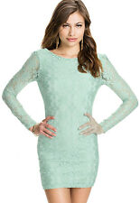 Fresh Cyan Backless Lace Club Party Mini Dress