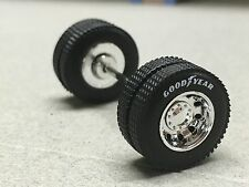 1/64 DCP WHITE LETTER GOODYEAR WHEEL/TIRE PAIR W/ AXLE