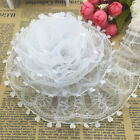 New 5 Yards 2-layer 50mm White Organza Lace Gathered Pleated Sequined Trim UK-3