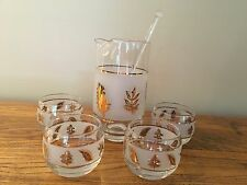 Rare Libbey Glass Gold Leaf Cocktail Martini Mixer Pitcher and Glasses Set