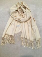 Ivory Cream Warm Cashmere Wool Scarf Shawl Wrap Silk White Christmas Gift Soft