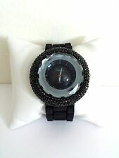 Women's Big Face (Black) Crystals Rhinestones Princess Black Silicone Watch