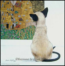 LARGE SIAMESE CAT KLIMT THE KISS PRINT FROM ORIGINAL PAINTING BY SUZANNE LE GOOD