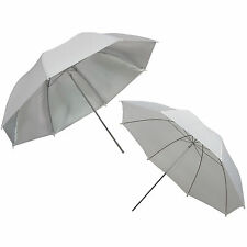 2x Parapluie Studio Photo Video Diffuseur Translucide Blanc + Argent 84 cm