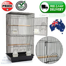 Medium Black Bird Budgie Canary Cage Birdcage Wrought Iron Perch Feeder Parrot