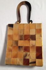 """Vintage Polished Natural Ox Horn 1"""" Tiled Clutch Bag Handbag Evening Purse"""