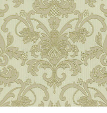 P+S International Claremont Textured Cream And Beige Damask Wallpaper - 18132-70