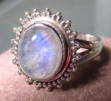 925 silver round cabochon rainbow moonstone ring UK O½-¾/US 7.5-7.745