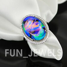 New Vintage Multi Color Change Oval Mood Ring With Amazing Swirl Colors Brass