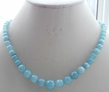 Natural 6-14mm Brazil Blue Aqexandrite Round Loose Beads Necklace 18'' H-18