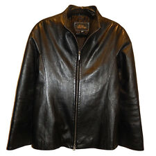 GINA BACCONI WOMEN'S SZ M BLACK SOFT LEATHER BLAZER JACKET