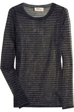 $405 ISABEL MARANT 1 S Small Striped Sheer Gold Blue Black Top Pullover Shirt XS