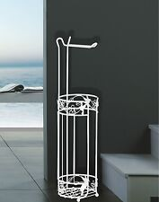 NEW PARADISE WHITE FREESTANDING TOILET LOO PAPER ROLL HOLDER & STORER