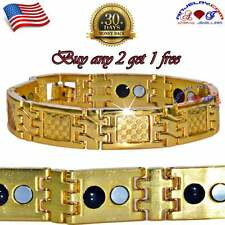 STAINLESS STEEL GOLD CARBON FIBER MAGNETIC GERMANIUM BRACELET MEN 2 IN 1 S20M