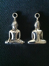2 x Buddha Charms Tibetan Silver Enlightenment Pose Mudra Bags Pendant Zip Yoga