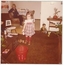 Vintage 70s PHOTO Little Girl At Home Grandma In Background