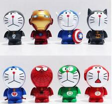 8 Pcs Doraemon Action Figure Cosplay Avengers Iron Man Superheroes Marvel Toy