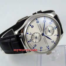 43mm parnis silver dial blue marks power reserve seagull automatic mens watch 99