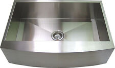 """30"""" Stainless Steel Apron Farm Sink Curved Front, Single Bowl"""