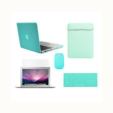 """5 in1 Rubberized HOT BLUE Case for Macbook PRO 15""""+Key Cover+ LCD +Bag+ Mouse"""