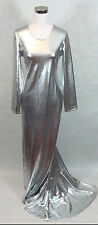 Drag Queen Stage Parade Silver Shine Gown Dress Plus Size with Train 1X 2X 3X