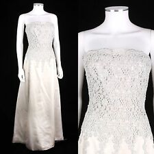 LES NOCES COUTURE MONTREAL PALE GRAY SATIN & LACE FORMAL EVENING DRESS GOWN SZ M