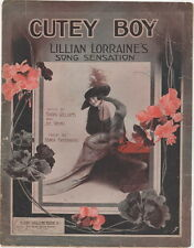 Cutey Boy, Lillian Lorraine, 1913, GREAT cover art, vintage sheet music