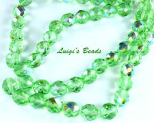25 Peridot AB Czech Firepolish Faceted Round Glass Beads 10mm