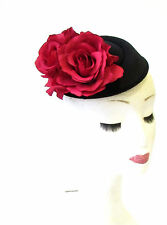 Red Black Rose Flower Pillbox Hat Fascinator Headpiece Races Ascot Vtg Hair 1970