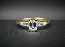 18k Gold Diamond Engagement Ring 0.6ct GIA Size 6.5 Emerald Cut VVS2 F RG811