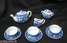 ANCIENNE  DINETTE  DE POUPEE PORCELAINE  BLANC BLEU DECOR CHINOIS SERVICE A THE