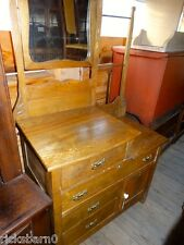 SOLID  OAK  STEP DOWN  DRESSER  WITH  MIRROR  AND  TOWEL BAR