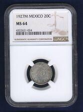 MEXICO ESTADOS UNIDOS 1927  20 CENTAVOS COIN CERTIFIED UNCIRCULATED NGC MS-64