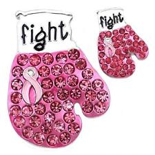Fighting Boxing Gloves Breast Cancer Awareness Pink Ribbon Brooch Pin Charm Set