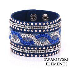 Bracelet large Swarovski® Elements cuir souple pressions qualité bleu saphir