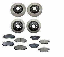 NEW Acura TL 09-14 Set of 2 Rear + 2 Front Disc Brake Rotors + Pads