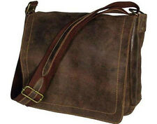 David King Distressed Leather North South Messenger Bag Laptop Briefcase - Brown